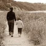 mother daughter walking